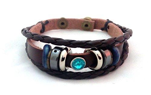 New Herren Leder Anhänger Armband Surfer Tribal Manschette handgefertigt Hanf Cord Armreif Holz Perlen Armband, A27