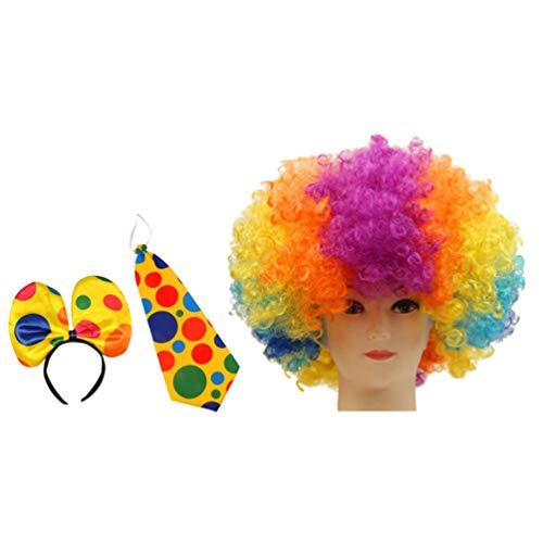 Für Kostüm Clown Teenager Mädchen - NUOBESTY Clown Kostüm lustige süße launische Clown Kopf Hand Haarband Fliege Clown Kostüm Clown Perücke für Jungen Teenager Mädchen 1 Satz 3 Stück (Clown Kopf Band / Haarband + Clown Perücke + Fliege)
