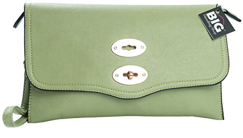 Big Handbag Shop - Borsetta senza manici donna (Lime Lemon Green (HR304))