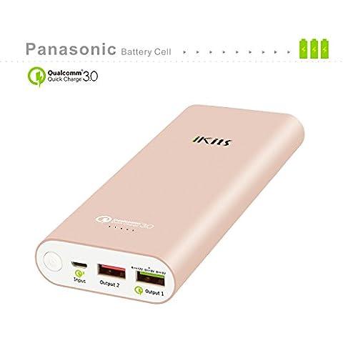 iKits [Qualcomm Certificado] Celular Panasonic batería de carga rápida de la batería 3.0 del paquete de energía externa 19200mAh Banco de entrada: QC3.0, Salida: 2.4A + QC para Samsung Google Nexus iPhone / iPad y más oro rosa