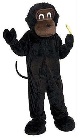 Deluxe Plüsch Gorilla Maskottchen Kostüm für Erwachsene schwarz schwarz Standard (Deluxe Gorilla-kostüm)