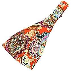 Bandas para mujer Auxma Mujeres Boho Floral Diadema Deportivo Elástico Yoga Running Headwrap (A)