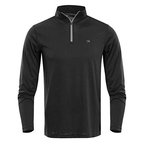Calvin Klein Herren Harlem TECH 1/4 Zip Golf-T-Shirt, schwarz, Mittel -