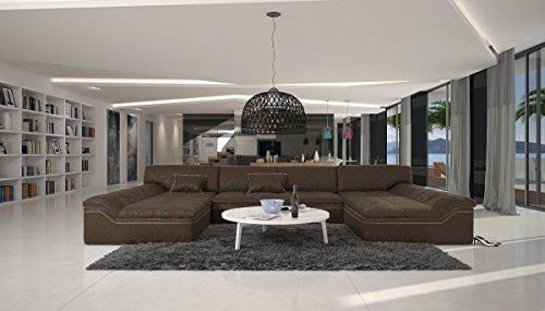 XXL Wohn-Landschaft in Antik Optik Microfaser Bezug 380x220 cm U-Form Dunkelbraun | Sarari-U | Designer Eck-Sofa mit 2 Recamieren | Couch-Garnitur für Wohnzimmer Dunkelbraun 380cm x 220cm
