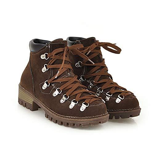 JUTOO Frauen Freizeit Low-Heel Schuh Plattform Solid Color Scrub Kurzrohr Schwarz Stiefel(Braun,39 EU) (T-shirt Weiße Erwachsene Henley)