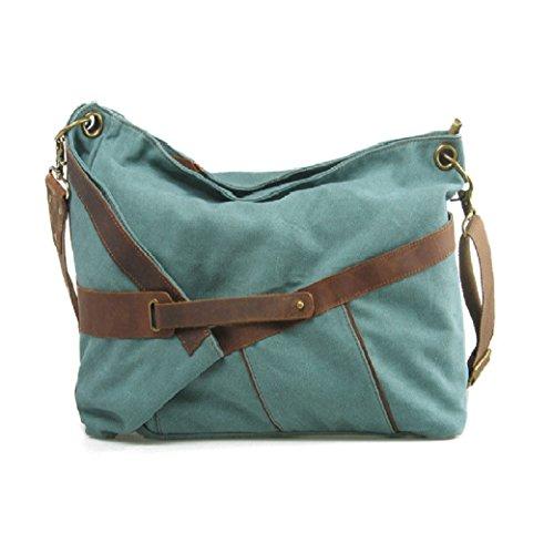 Fashion Plaza Retro Vintage Stil super groß Damen Handtasche Schultertasche Messagerbag 50x42x16cm C5089 (grün)