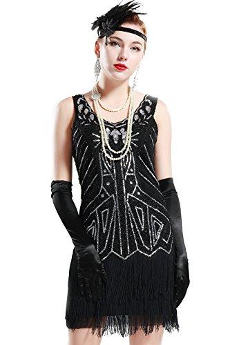 BABEYOND Damen Retro 1920er Stil Flapper Kleider mit Zwei Schichten Troddel V Ausschnitt Great Gatsby Motto Party Kostüm Kleider- Gr. XS, Schwarz (Roaring 20's Kostüm)