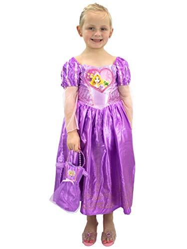 Disney costumi vestito e borsetta per ragazze rapunzel - l'intreccio della torre viola 5-6 anni