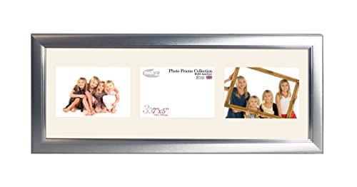 Inov8British Made Bilderrahmen/Fotorahmen, gebürstet klein Silber dreifach-App 7x 5x 3L Zoll, Single (5x7 Dreifach-bilderrahmen)