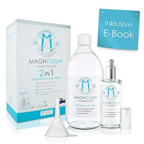 Magnesiumöl Set Original Zechstein – Preisvorteil - 100 ml + 1L - Glasflaschen zum Nachfüllen + Trichter - dermatologisch klinisch getestet – Magnesium Oil – Magnesiumchlorid/Magnesium Sole