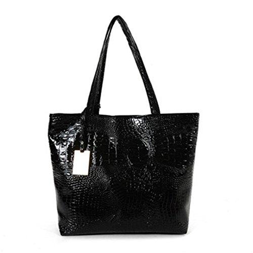 Sportliche Frauen Umhängetaschen Silber Gold Schwarz kroko Handtasche PU Leder Weibliche große Tasche Damen Taschen Sac schwarz 40 cm - Dkny Damen-schwarz-leder