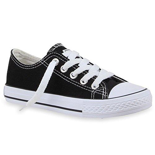 Kinder Sneakers Sportlich Basic Schnürer Trend Schuhe Schwarz