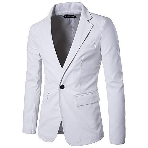 Cwemimifa Herren Weste Anzugweste Wolle Tweed Weste 3 Taschen 4 Knöpfe, Herrenmode Reine Farbe Leder lässig einreihige Schnalle Leder Anzug Mantel, Weiß, S - Leder-drei-knopf-blazer