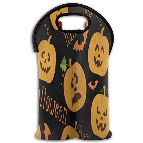 artoon Pumpkin Bat Black 2 Bottle Red Wine Tote Bag Cooler Champagne Travel Bag Design9 ()