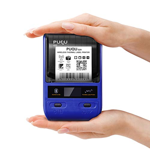 PUQU-LABEL Puqu Bluetooth etichetta stampante termica Label Maker Q20senza fili, portatile con batteria ricaricabile, super leggero e guscio per HD compatibile con sistemi Android e iOS–blu