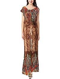 HX fashion Vestiti Donna Estivi Lungo Elegante Manica Corta V Neck Stampato Modello  Chic Ragazza Abiti 1c609c8505b