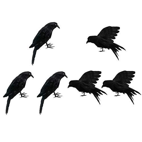 SM SunniMix 6pcs / Set Realistische Rabenvögel Für Garten Halloween Hochzeits Yard Dekoration