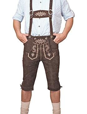Trachten Herren Lederhose Kniebund Braun leather trousers Smartphone Tasche KNHC1