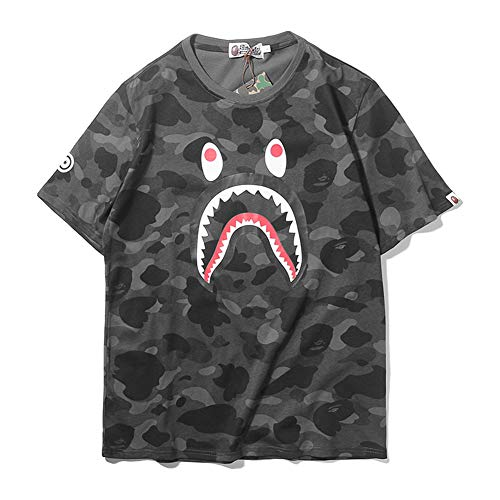 ape bape Shirts|BAPE Camouflage Shark Head Classic Cotton Short Sleeve T Shirt Black Purple Blue Camouflage Green - Bape Camo Hoodie