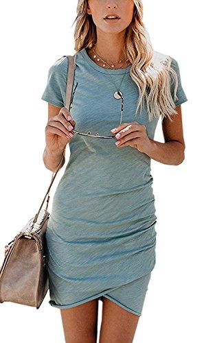 Minetom Damen Enges Kleid Sommerkleid Rundhals Kurzarm Kleid Bodycon Unregelmäßig Minikleid...