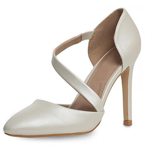 CASPAR Damen Klassische Geschlossene Riemchen High Heels / Pumps mit hohem Absatz und elegantem Riemchen - viele Farben - SBU008, Farbe:perlmutt;Größe:EU40/US9