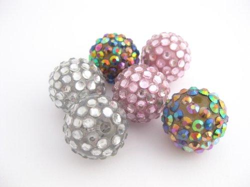 9 RH002 Perles résine strass 18 mm de diamètre