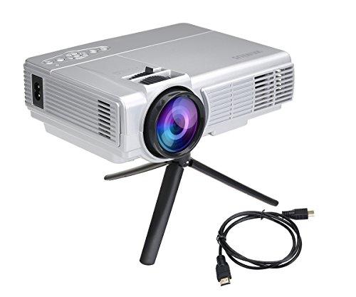 LED Projektor Mini Tragbarer Beamer Mini Projektor HD Videoprojektor Multimedia Heimkino Video Projektor mit HDMI Kabel unterstützt AV/ VGA/ USB/ SD/ HDMI WIMIUS (T3 Silber)