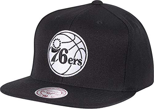 Mitchell & Ness Philadelphia 76ers 18155 Wool Solid Black White Snapback Cap Kappe Basecap