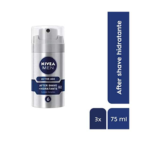 NIVEA MEN Active Age Bálsamo Anti-edad 2en1 en pack de 3 (3 x 75 ml), bálsamo after shave para calmar la irritación…