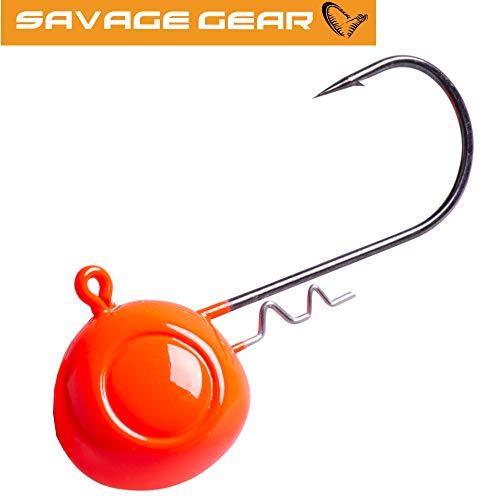 Savage Gear Rattle Jig Head rot UV - Jigkopf mit Rassel zum Spinnfischen & Meeresangeln, Jighaken für Gummiköder, Bleikopf, Größe/Gewicht:Gr. 8/0 / 85g