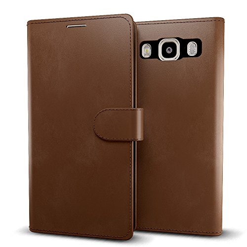 MTT® Premium Leather Flip Wallet Case with Card Slot for Samsung Galaxy J7 SM-J700F (Brown)