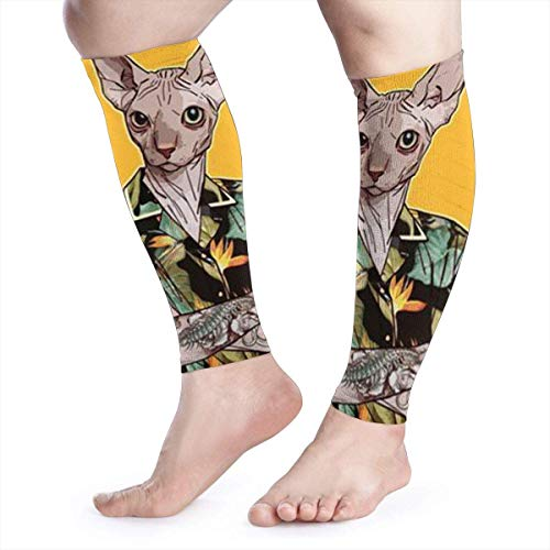 Bikofhd A Cat In A Vintage Hawaiian Shirt Calf Compression Sleeve-Leg Compression Socks for Shin Splint,Calf Pain Relief-Men,Women, and Runners-Calf Guard for Running,Cycling,Maternity,Travel,Nurses - Hawaiian Vintage Shirt