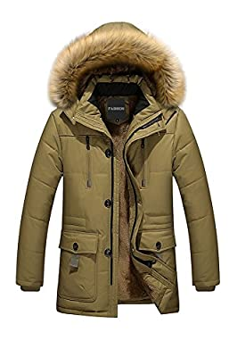 Menschwear Men's Faux Fur Hooded Down Jacket Winter Warm Lined Warm Outwear