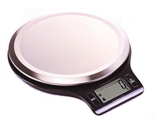 Exzact Bilancia Elettronica di Precisione da Cucina (EX3211) - Piattaforma ad Impronta Digitale Resistente Finitura in Acciaio Inox - 5kg / 11lb (Nero)