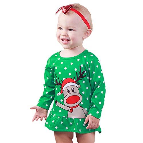 Anywow Kleinkind Baby Mädchen Weihnachten Tupfen T-Shirt Kleid Cartoon Rentier Top Rüschen Kleid Party Kleidung 0-5 Jahre - Flare Knit Kleid