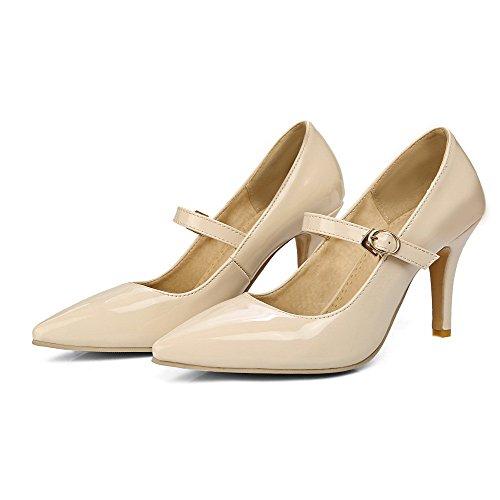 Voguezone009 Femmes Chaussures De Porc Pointu Toe High Heel Buckle Pure Ballet-flats Beige