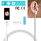 iBellete Ear endoscope|usb otoscopio,3 in 1 HD USB camera Periscopio visiva Earpick strumento con 6 LED regolabili per Android micro, tipo C, USB PC