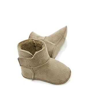 Lammfellschuhe Babyschuhe , Stiefel , Klettverschluss , Echt Fell Schuhe Krabeln, hausschuhe Baby ADB-0001 Madchen, Jungen , Leder (18/19, hellgrau)