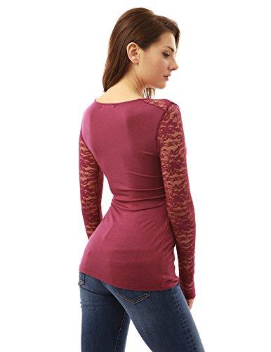 PattyBoutik femmes dentelle à manches longues zip wrap blouse ornée Magenta