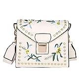 Frauen Handtasche Mode Stickerei Ethnic Style Schultertasche Handytasche Umhängetasche Weiß