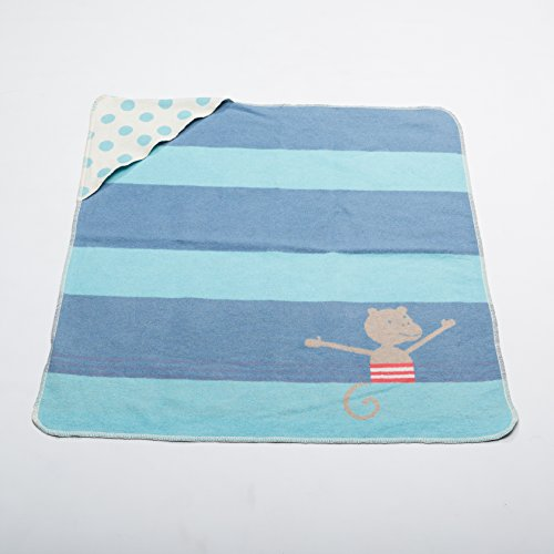 Preisvergleich Produktbild David Fussenegger Juwel Kapuze Affe/Streifen, Baumwoll-Mischgewebe, Jeans-Blau, 80 x 80 cm