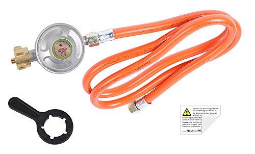 Camping-Regler-Set: Schlüssel + Druckregler + Schlauch 150 cm (inkl. Sicherheitsaufkleber)