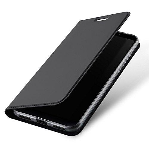 Xiaomi Redmi 5 Plus Funda con Tapa, Estuyoya Funda Tipo Libro [Cierre Magnético] Función Soporte [Billetera para Tarjetas] Bumper TPU Transparente Antigolpes Cierre Imán - Gris Oscuro