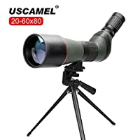 USCAMEL 20-60X 80 Waterproof Spotting Scope with Tripod and Carrying Case for Bird Watching, Wildlife Scenery and Target Shooting