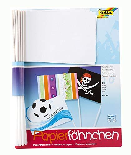 folia 2372 - Papierfähnchen, DIN A5, Stablänge 40cm, 20 Stück, weiß - zum bemalen, bekleben und verzieren -