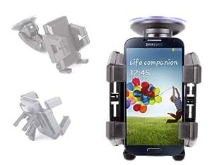 Support / fixation voiture pour smartphone Samsung Galaxy S4 (I9500), S4 Mini (i9190) & S5 (SM-G900F) , antivibration 2 en 1 - pare brise et bouche d'aération