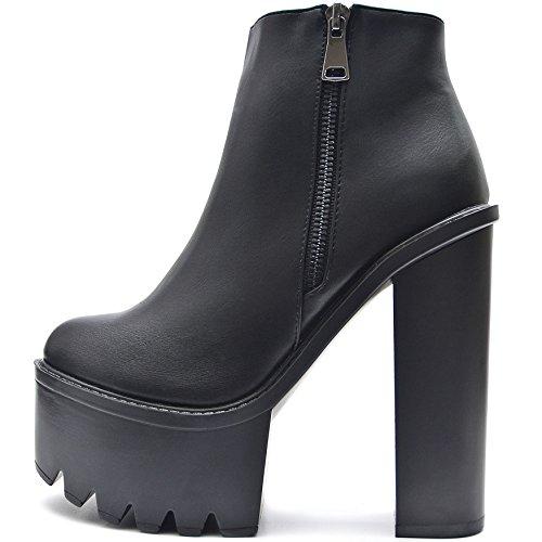 Vain Secrets Damen Chelsea Plateau Boots Stiefeletten mit Absatz Profil Sohle (40, Schwarz M1)