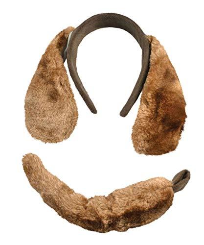 Labreeze Hunde-Kostüm, mit Plüschohren und Schwanz, Braun