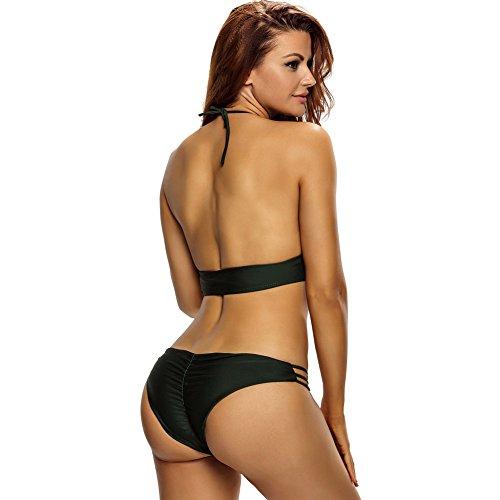 PU&PU Frauen-Strand-Halter-Bandeau-Bikinis-zwei Stücke gesetztes Badeanzug-niedriger Aufstieg-drahtloser gepolsterter Büstenhalter-Polyester Army Green