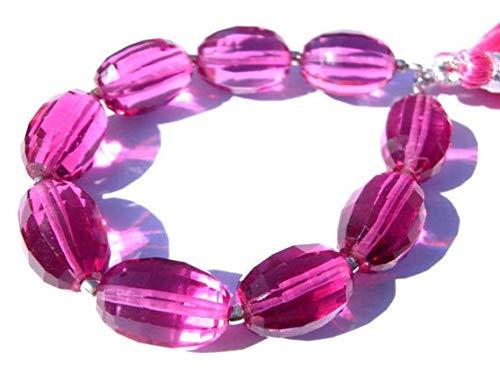 Earth Gems Park Super Fine Quality Gems Jewelry Hot Pink Quartz Faceted Checker Cut Barrel Briolettes Size 14x10mm 3